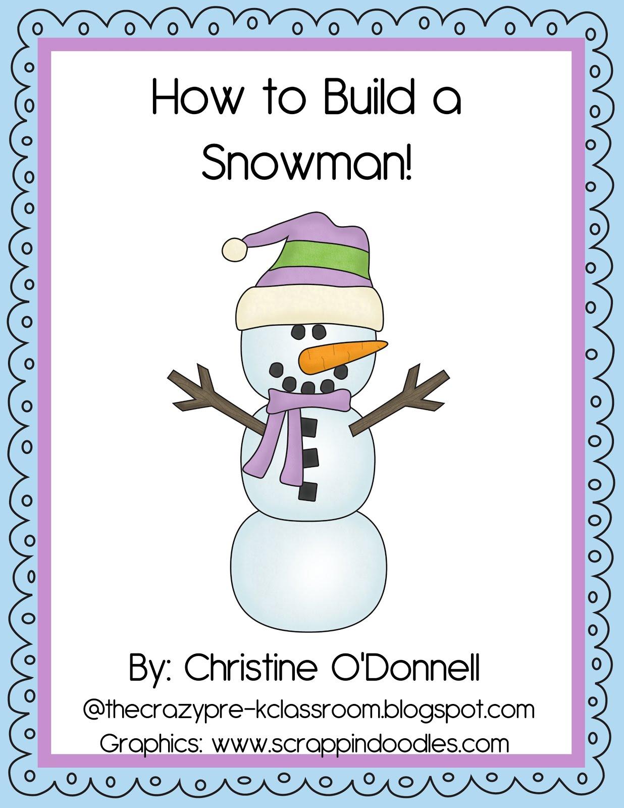 The Crazy Pre K Classroom Winter Snowman Unit Fun