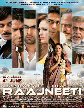 Poster Of Raajneeti 2010 Hindi 550MB BRRip 720p ESubs HEVC Watch Online Free Download Worldfree4u