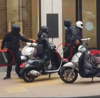 Machete-wielding motorcycle gang carry out the most brazen theft in Britain as they smash into a luxury watch shop in broad daylight.