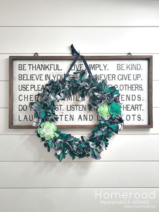 St. Patrick's Day Plaid Wreath on shiplap wall and lettered sign