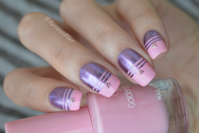 #31dc2015 metallic pink purple stripes caviar