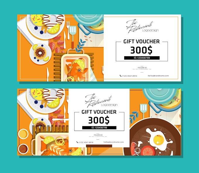 Food voucher template colorful flat sketch Free vector