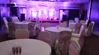 Stage set up with round table sitting banquet Hotels