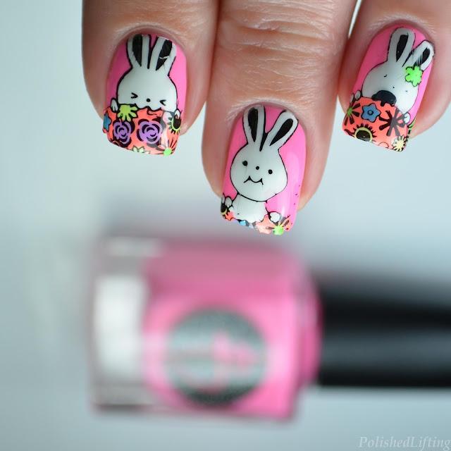 spring bunny nail art