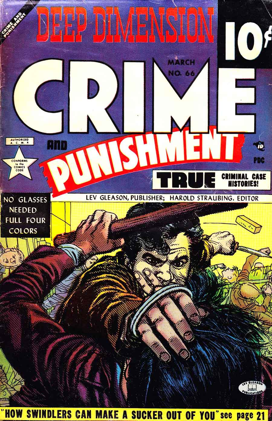 Crime and Punishment v1 #66 golden age crime comic book cover art by Alex Toth