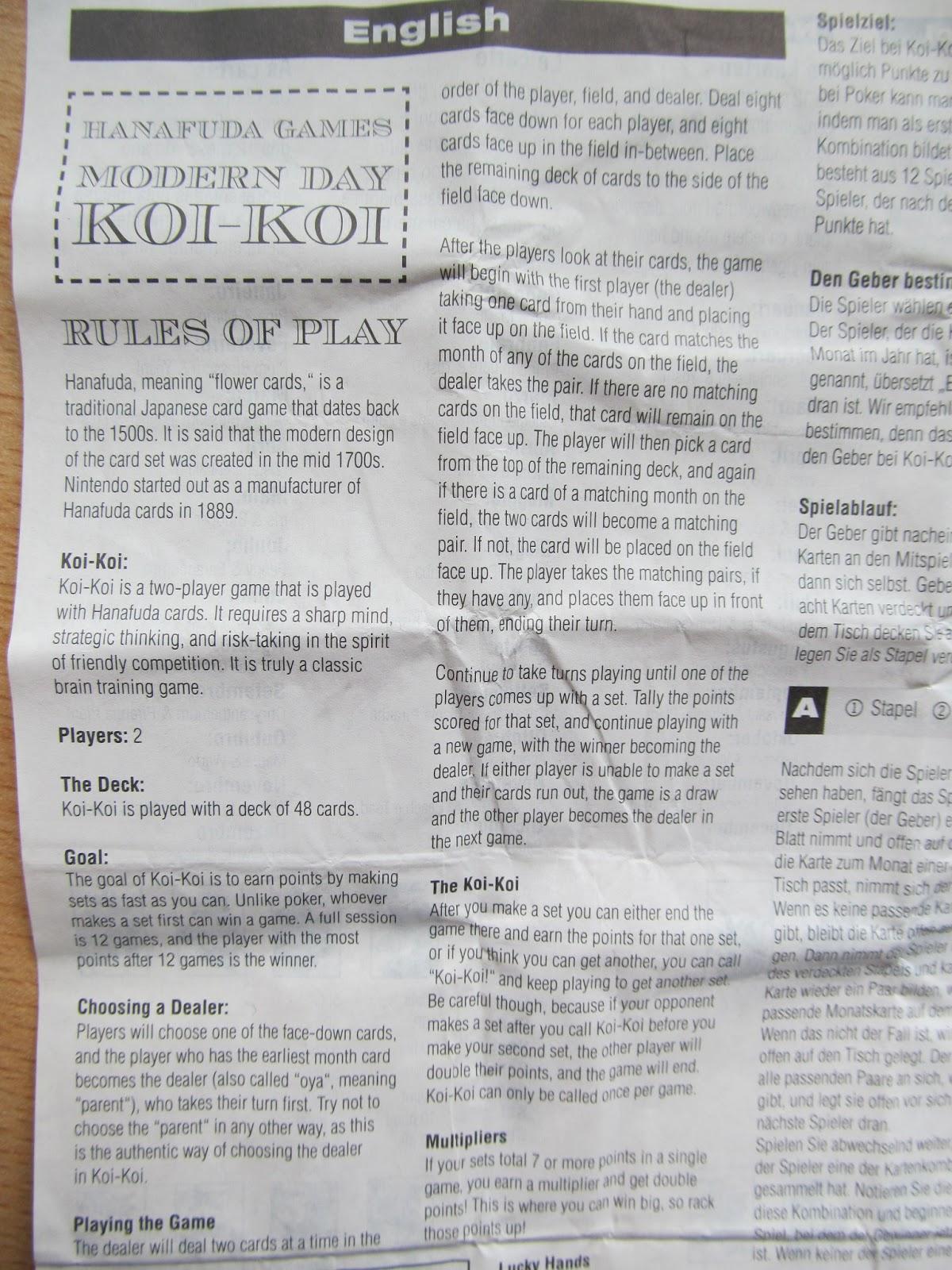 Hanafuda Hub!: Nintendo's official Koi-Koi Rules - European edition