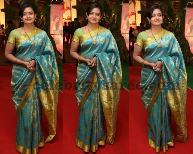 Indraja in Blue Kanjeevaram Saree
