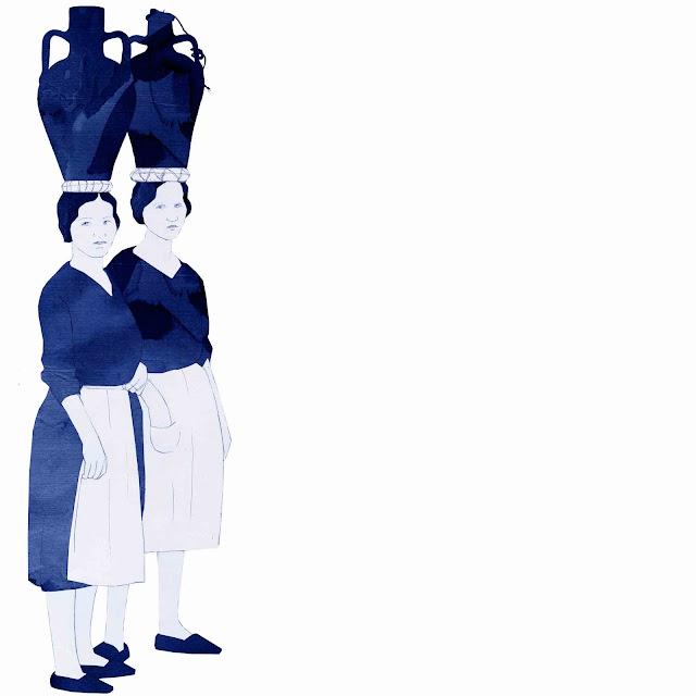 azulejo, ceramica azul, mujeres ,cantaros
