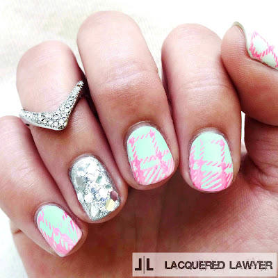 Pastel Plaid Nail Art