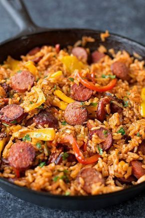 SAUSAGE, PEPPER AND RICE SKILLET #SAUSAGE #PEPPER #RICE #SKILLET #RICESKILLET #dinner #recipes #dinnerrecipes
