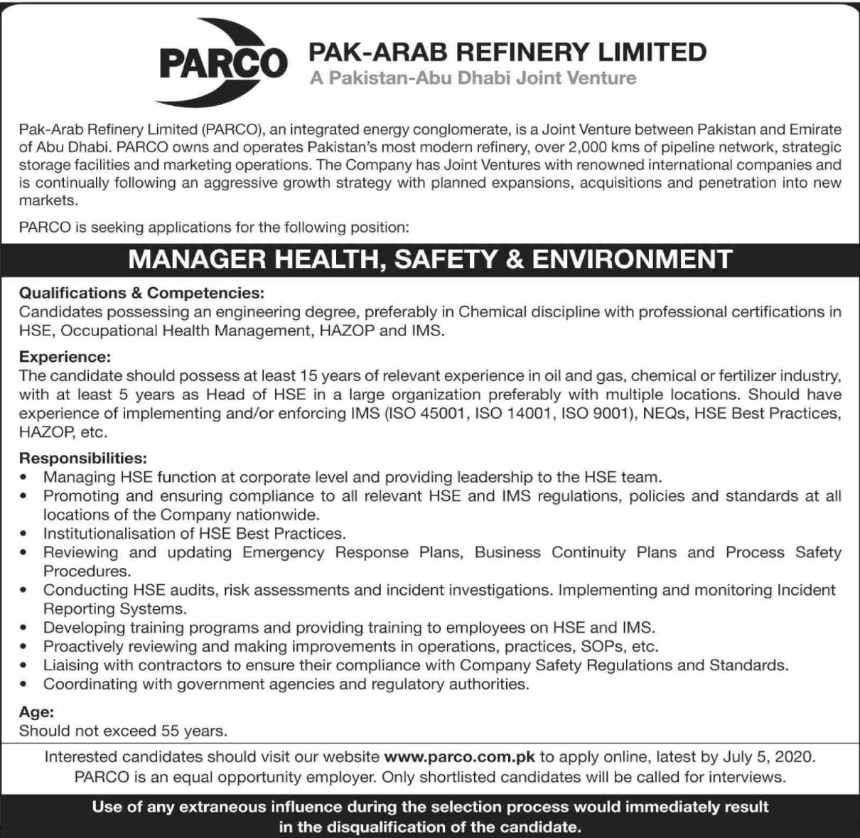 PARCO Pakistan Jobs 2020 Last Date To Apply July 05 2020