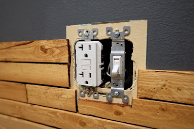 wood lath around outlet