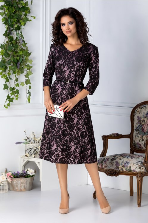 Rochie marime mare roz-negru eleganta din dantela florala de ocazii
