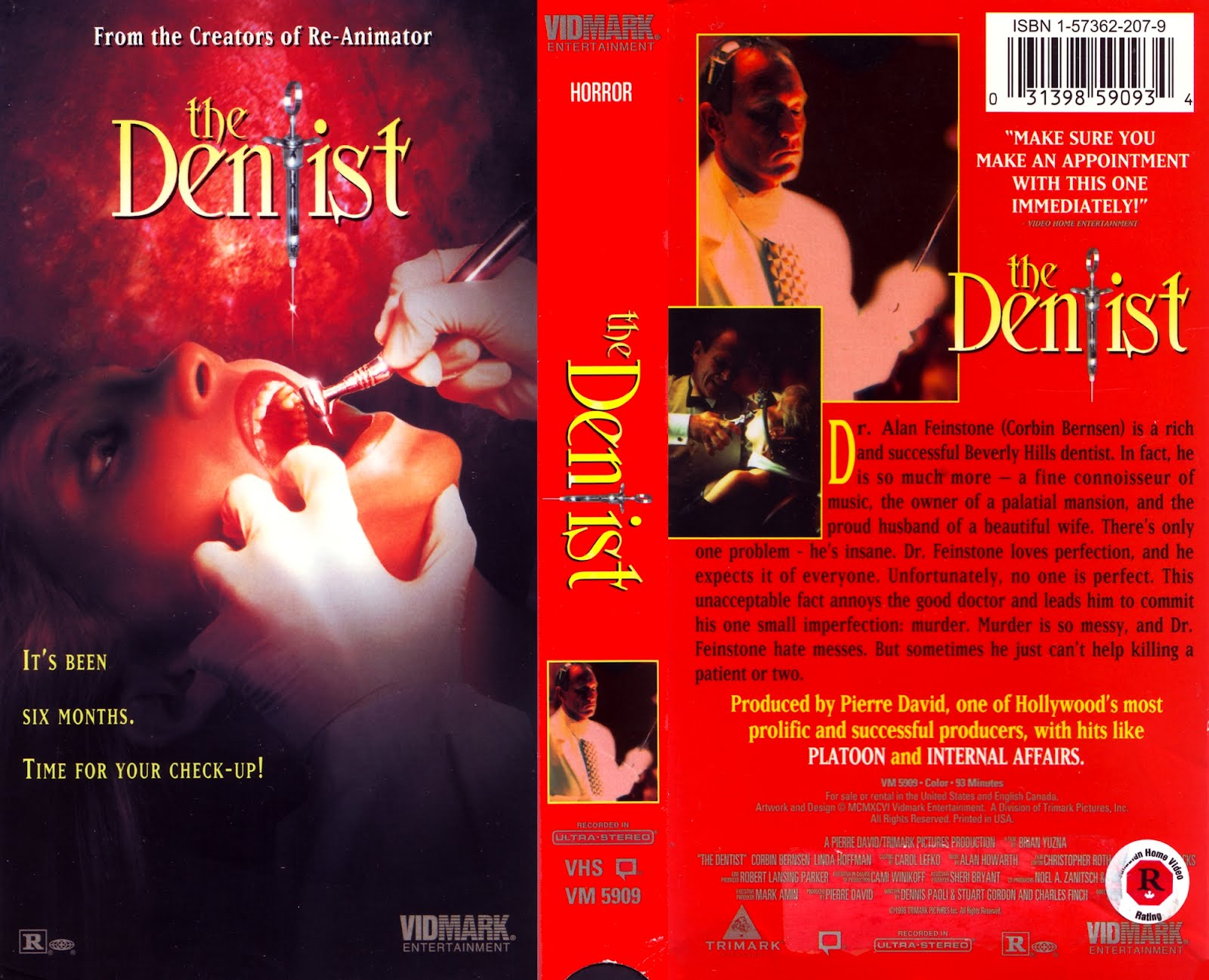 The Dentist (1996) Horror movie posters, Dentist, Vhs to dvd