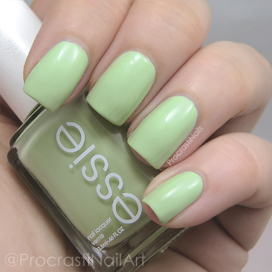 Swatch of the mint green creme nail polish Essie Going Guru