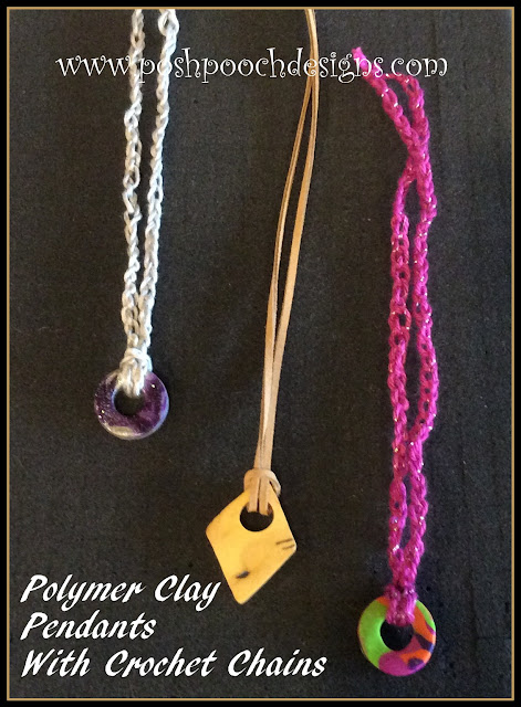 Polymer Clay Pendant With Crochet Chain | Posh Pooch Designs