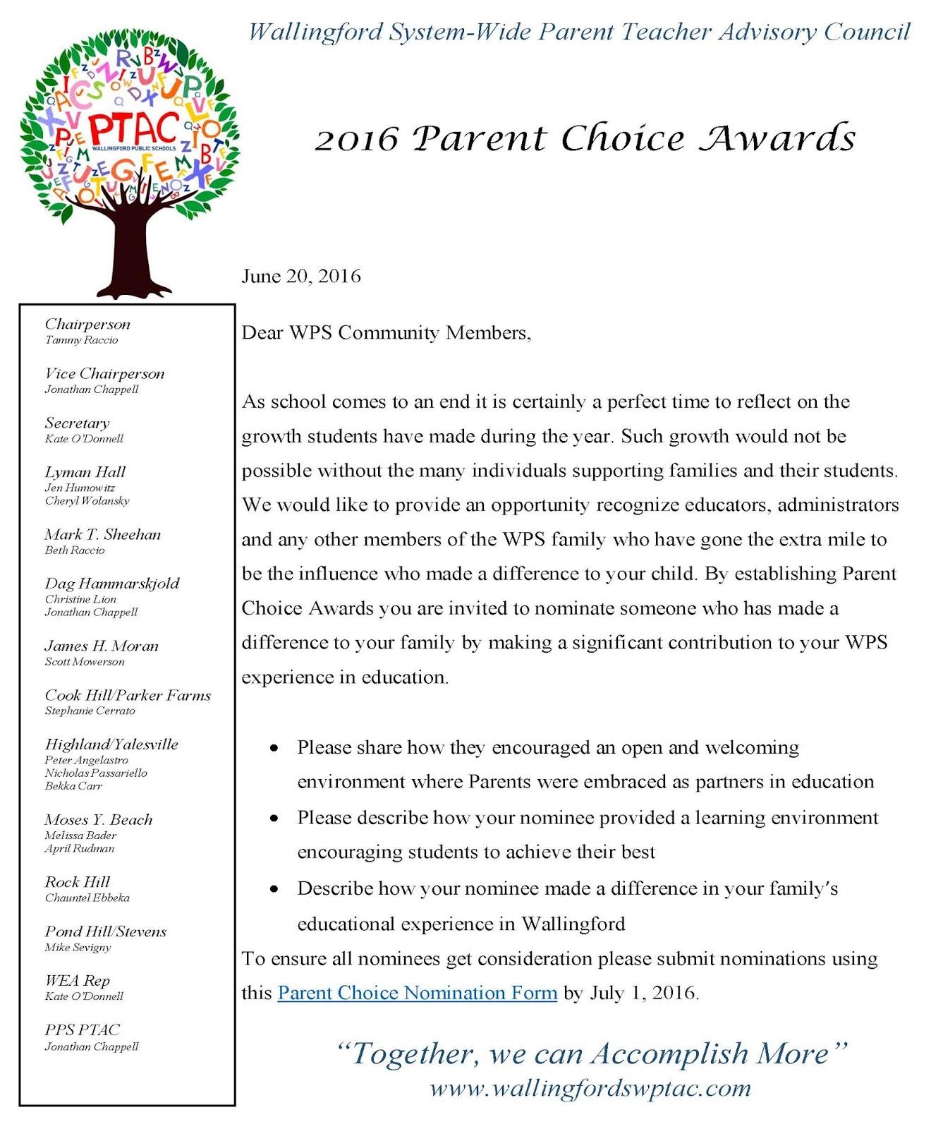 Wallingford SystemWide Parent Teacher Advisory Council June 2016