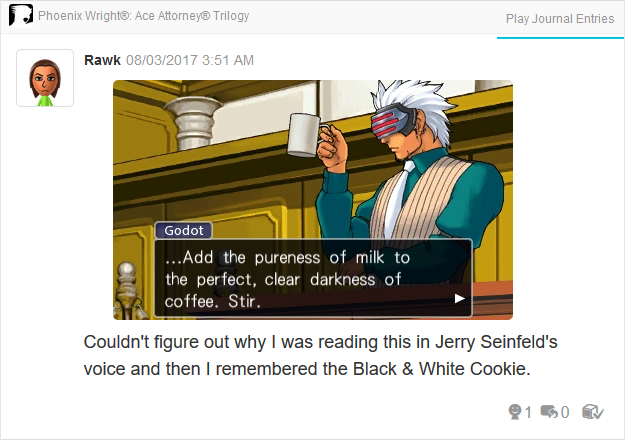 Phoenix Wright Ace Attorney Trials and Tribulations Godot pureness of milk perfect darkness of coffee