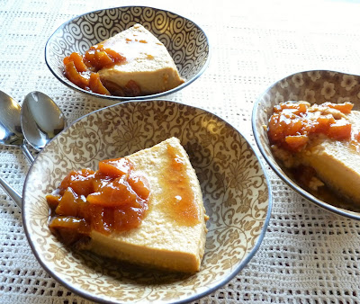 Peach Flan with Caramelized Peach Sauce
