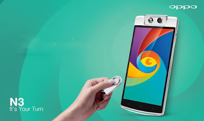 "Oppo N3 Specifications - LAUNCH Announced 2014, October DISPLAY Type IPS LCD capacitive touchscreen, 16M colors Size 5.5 inches (~66.5% screen-to-body ratio) Resolution 1080 x 1920 pixels (~403 ppi pixel density) Multitouch Yes Protection Corning Gorilla Glass 3  - Color OS 2.0 BODY Dimensions 161.2 x 77 x 9.9 mm (6.35 x 3.03 x 0.39 in) Weight 192 g (6.77 oz) SIM Dual SIM (Nano-SIM/ Micro-SIM) PLATFORM OS Android OS, v4.4.4 (KitKat) CPU Quad-core 2.3 GHz Krait 400 Chipset Qualcomm MSM8974AA Snapdragon 801 GPU Adreno 330 MEMORY Card slot microSD, up to 128 GB (uses SIM 2 slot) Internal 32 GB, 2 GB RAM CAMERA Primary 16 MP (Schneider Kreuznach certified), autofocus, dual-LED flash Secondary 16 MP, autofocus, LED flash Features Motorized rotating lens via on-screen gestures/ O-Click remote control, 1/2.3"" sensor size, 1.34µm pixel size, geo-tagging, touch focus, face detection, auto panorama (motorized rotation), HDR Video 1080p@60fps, 720p@120fps NETWORK Technology GSM / HSPA / LTE 2G bands GSM 850 / 900 / 1800 / 1900 - SIM 1 & SIM 2 3G bands HSDPA 850 / 900 / 1700 / 1900 / 2100 4G bands LTE band 1(2100), 3(1800), 4(1700/2100), 7(2600), 8(900), 17(700), 20(800), 28(700), 40(2300) Speed HSPA, LTE GPRS Yes EDGE Yes COMMS WLAN Wi-Fi 802.11 a/b/g/n/ac, Wi-Fi Direct, DLNA, hotspot NFC Yes GPS Yes, with A-GPS, GLONASS USB microUSB v2.0, USB Host Radio No Bluetooth v4.0 FEATURES Sensors Fingerprint, accelerometer, gyro, proximity, compass Messaging SMS (threaded view), MMS, Email, Push Email Browser HTML5 Java No SOUND Alert types Vibration; MP3, WAV ringtones Loudspeaker Yes 3.5mm jack Yes BATTERY  Non-removable Li-Po 3000 mAh battery Stand-by  Talk time  Music play  MISC Colors White  - O-Click 2.0 bluetooth remote control - Fast battery charging: 75% in 30 min - Active noise cancellation with dedicated mic - MP4/WMV/H.264 player - MP3/WAV/WMA/eAAC+/FLAC player - Document viewer - Photo/video editor - Voice memo/dial/commands"