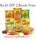 Maggi Noodles Vegetarian Combo 24pcs + 2 Free Bowls For Rs 349 ( Mrp 410) Free Ship at Snapdeal
