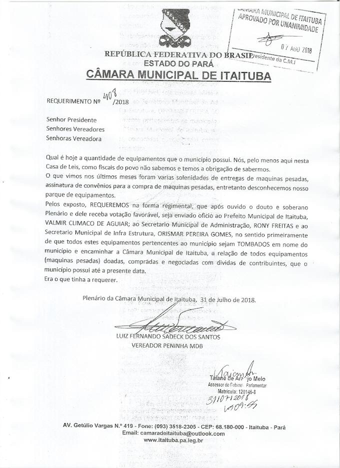 REQUERIMENTOS APROVADO DO VEREADOR PENINHA NA ULTIMA SESSÃO DE TERÇA-FEIRA.