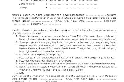 Contoh Surat Permohonan Melamar Sebagai Perangkat Desa