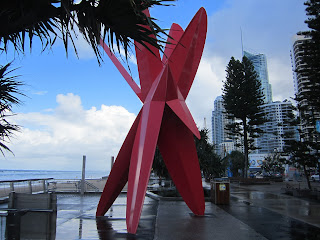 New Red Surfboard sculpture on Surfers Paradise Beach Raw Image