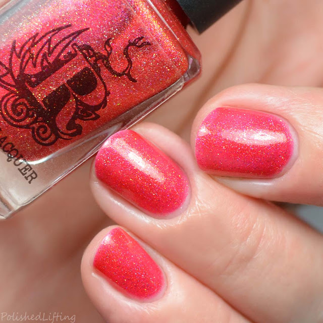 red holographic jelly nail polish