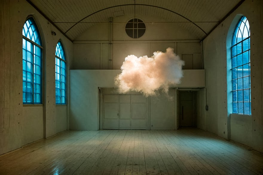 By balancing temperature, humidity and lighting, Dutch artist Berndnaut Smilde created a cloud in the middle of a room. He created luminous masses of vapor that slowly float through rooms and hallways of buildings, transforming them into surreal, dreamlike landscapes.