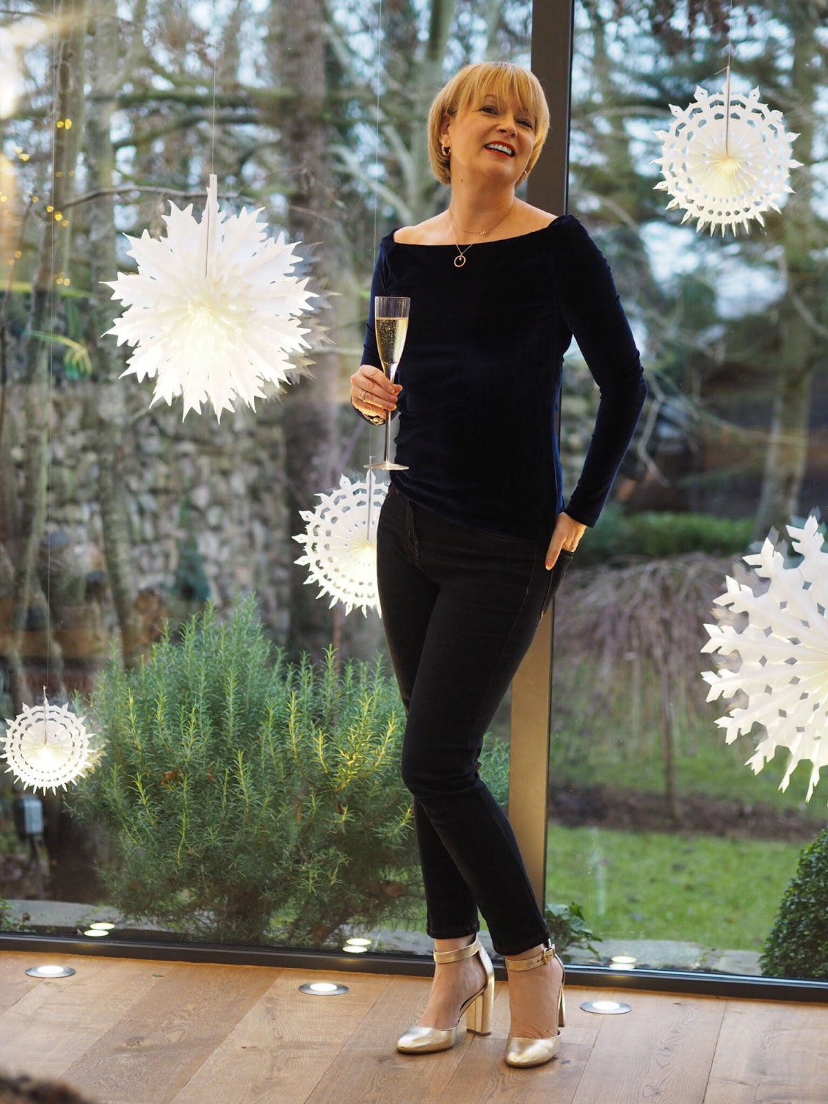 Nikki, Midlife Chic, black trousers and top, Christmas outfit, over 40