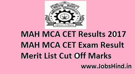 MAH MCA CET Results 2017