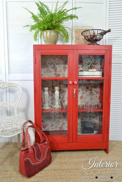 Antique Oak Bookcase Makeover with Fabric Lined Interior