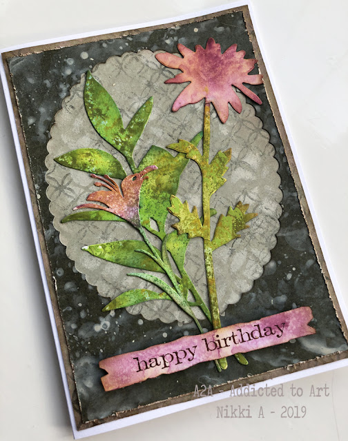 Birthday Day Cards with Tim Holtz Large Stems Bigz Die