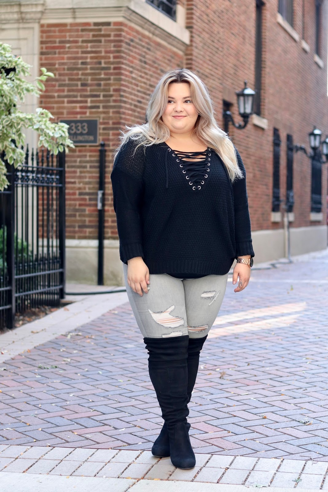 plus size wide calf over the knee boots, over-the-knee boots, wide calf boots, wide calf, cheap wide calf boots, over the knee boots, wide fit, Natalie in the city, Natalie Craig, Chicago fashion blogger, plus size Chicago fashion blogger, midwest fashion blogger, curves and confidence, Charlotte Russe, plus size fashion, fatshion, affordable plus size clothes
