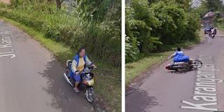 TAK SENGAJA !! Kamera Mobil Google Street View Merekam Ibu Terjatuh Dari Motor-nya