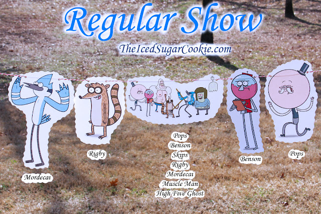 Regular Show Birthday Party DIY Flag Bunting Banner Garland Idea-Mordecai, Rigby, Pops, High Five Ghost, Skips, Muscle Man, Benson