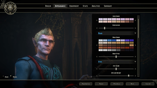 Sword Coast Legends character creation appearance screen