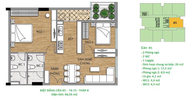 Căn hộ B5 diện tích 66,95 m2 tầng 4-15 Valencia Garden