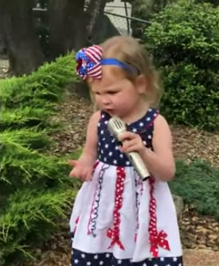 Amelia Bubenik sings National Anthem at 2 years old