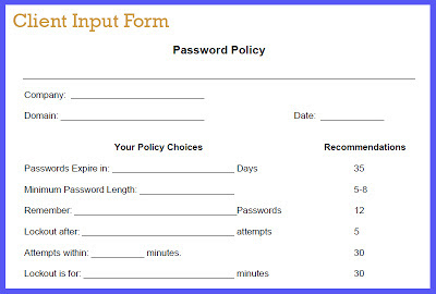Client form: Setting Password Policies