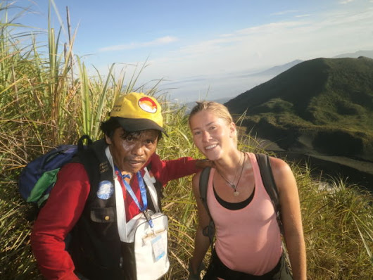 hello backpacker traveller who like hiking top of lon volcano