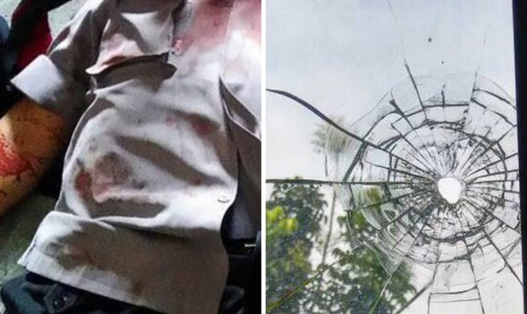 Jenazah Bripka Teguh (kiri) - Bekas tembakan di rumah Jazuli (kanan)
