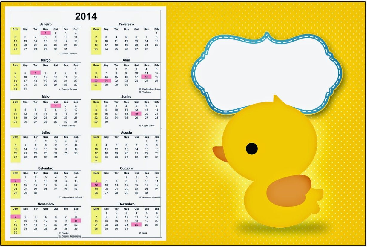Rubber Ducky 2014 Free Printable Calender.