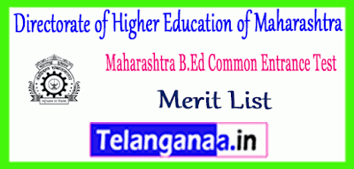 Directorate of Higher Education of Maharashtra B.Ed CET Cutoff 2019 Merit List Download