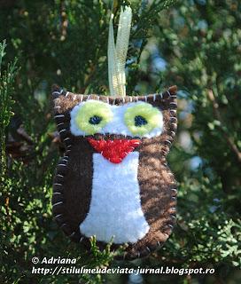 bufnita din fetru, ornament pentru craciun