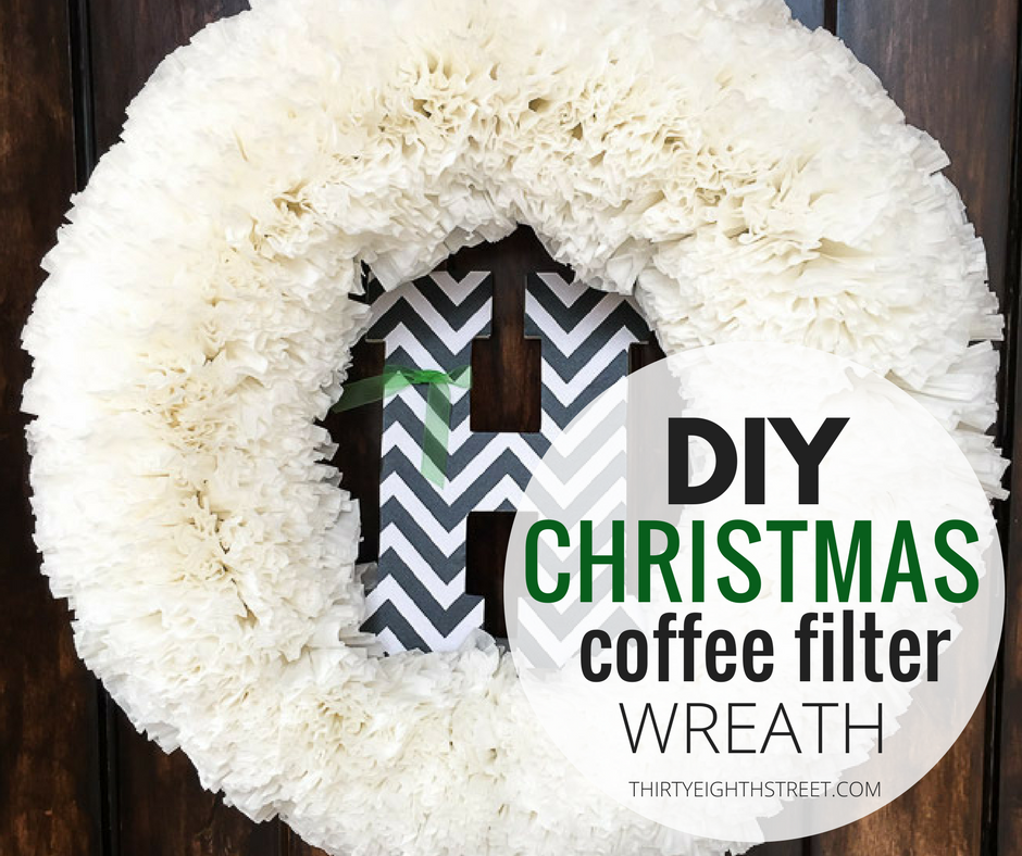 Coffee filter wreath, christmas coffee filter wreath, coffee filter christmas wreath, how to make a wreath, easy wreath ideas, christmas wreath ideas