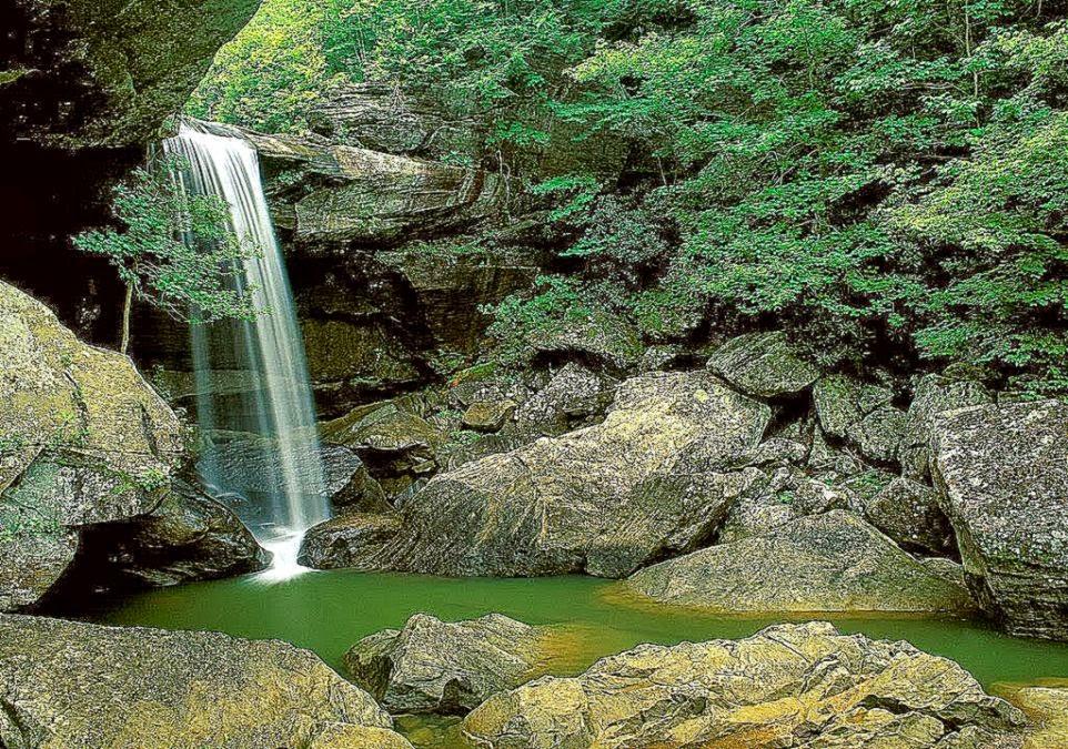 View Original Size Greenish Waterfall Natural WallpaperBackground Wallpaper