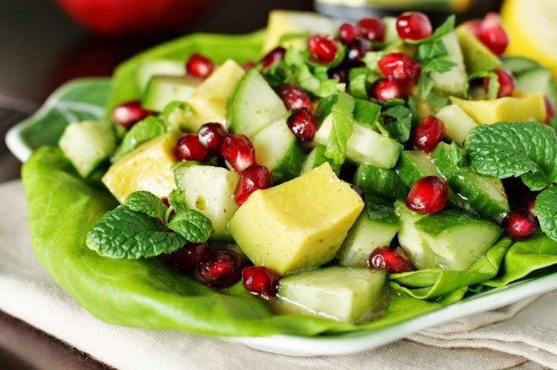 Avocado, Pomegranate, & Cucumber Salad with Maple Vinaigrette