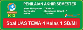 Soal UAS Tematik Tema 4 Kelas 1 Terbaru Lengkap Kunci Jawaban